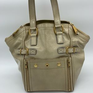 Yves Saint Laurent downtown beige small tote